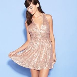 21 Exclusive Gold Sequin Skater Halter Mini Dress